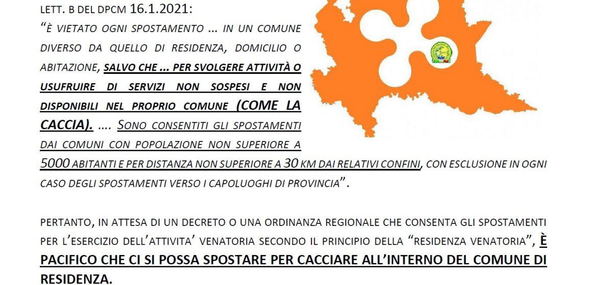 Lombardia zona arancio dal 24 gennaio: le disposizioni in materia di caccia