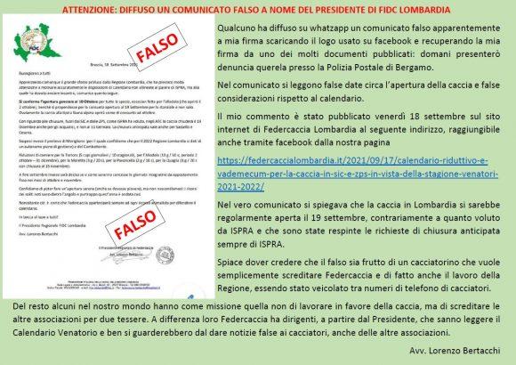 Attenzione: diffuso un comunicato falso a nome del Presidente di Fidc Lombardia