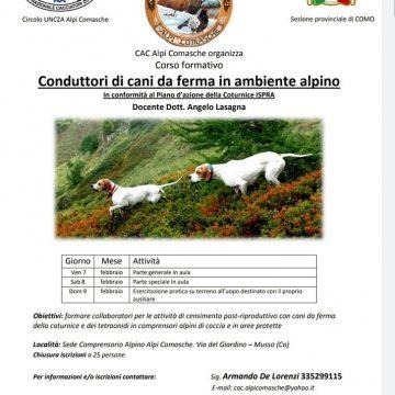 Corso di conduttori di cani da ferma in ambiente alpino in collaborazione con Federcaccia Como