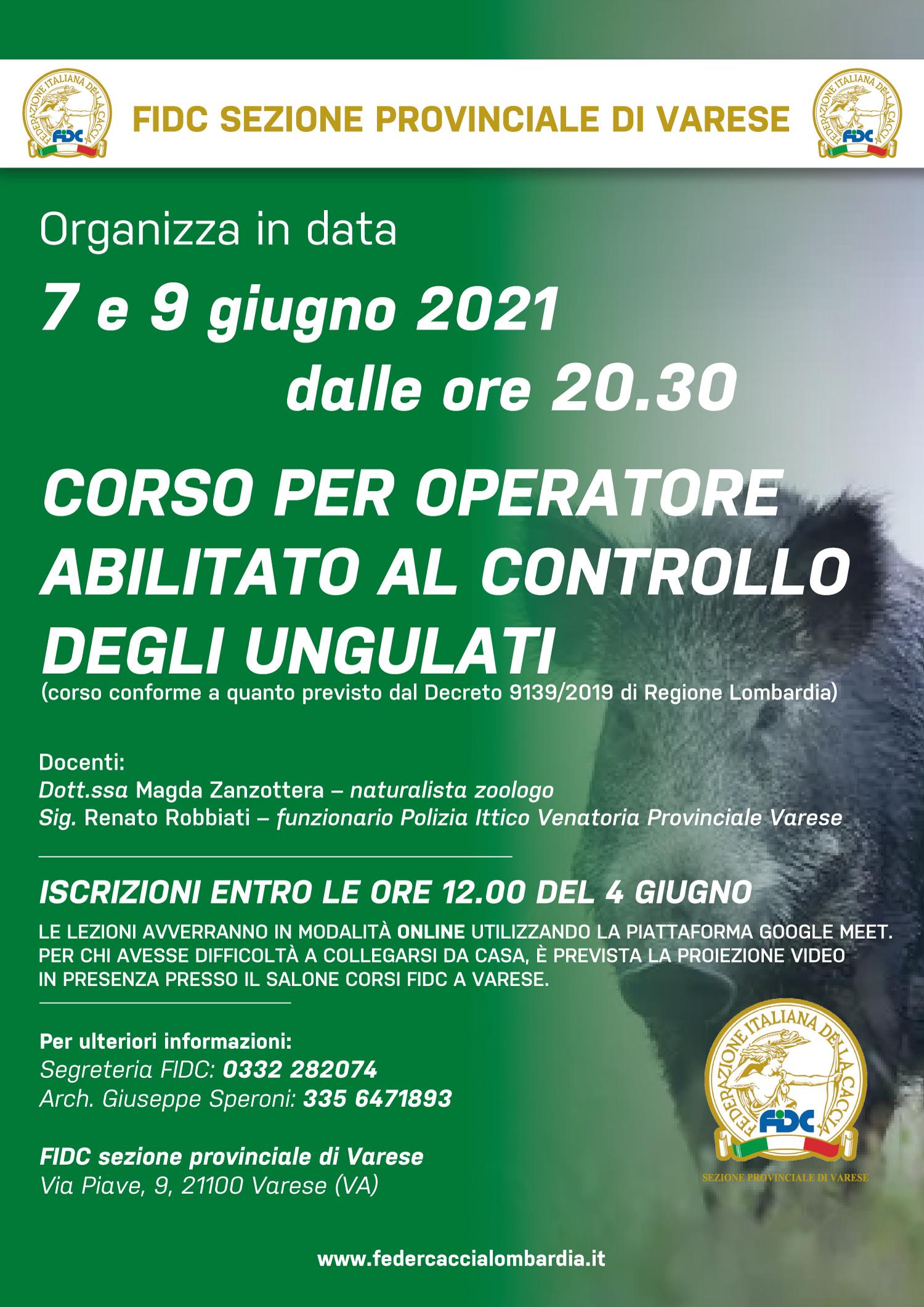 Corso online operatore abilitato al controllo degli ungulati il 7 e 9 giugno grazie a Fidc Varese